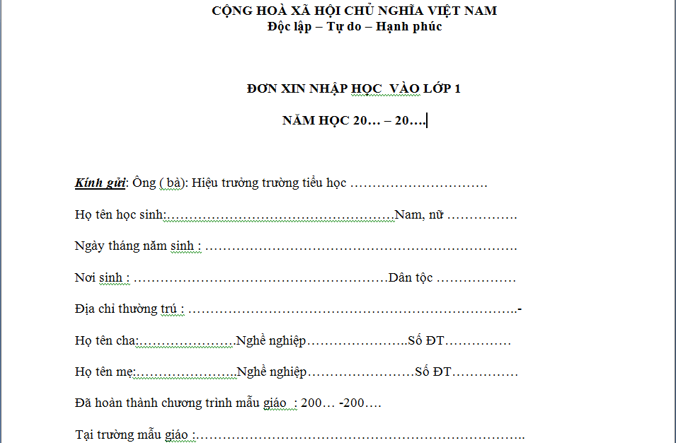 Don xin vao nhap hoc lop 1-Thuviengiadinh.com